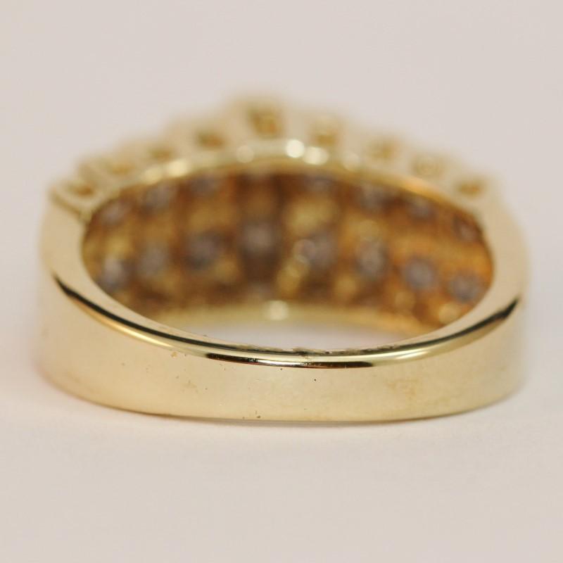 14K Yellow Gold Round Brilliant Diamond Anniversary Ring Size 7.25