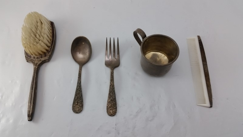 Antique Stieff Rose Sterling Silver Baby Spoon & Fork Set & Grooming Accessories