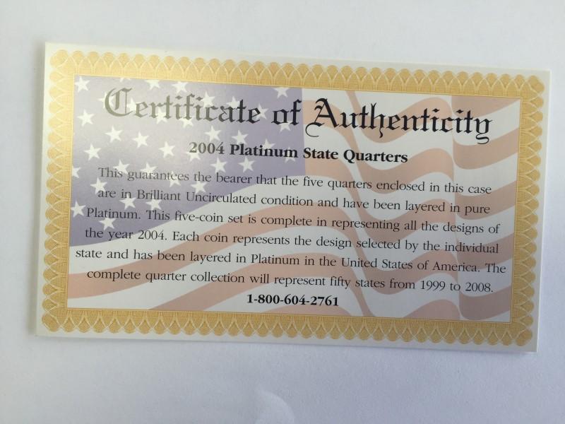 UNITED STATES PROOF SET 2004 PLATINUM EDITION STATE QUARTER COLLECTION