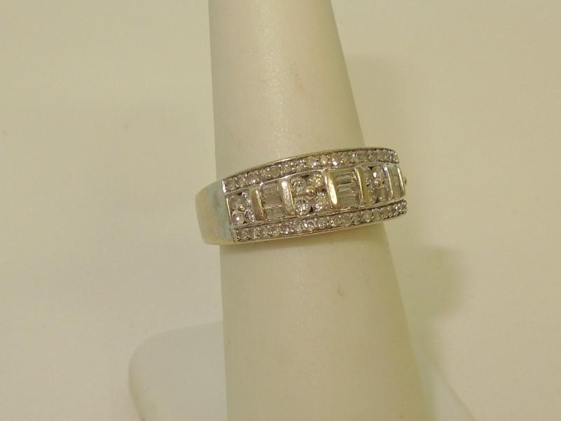 Lady's Diamond Fashion Ring 65 Diamonds .98 Carat T.W. 10K White Gold 4.6g