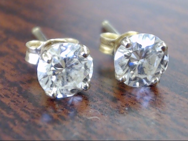 VINTAGE NATURAL DIAMOND ROUND SOLITAIRE STUD EARRINGS REAL 14K GOLD