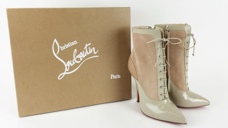 CHRISTIAN LOUBOUTIN LADY TUCSON 120 CALF JAZZ/SUEDE SHOES SZ 37