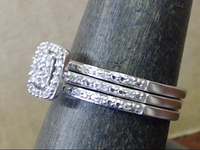 VINTAGE DIAMOND WED SET ENGAGE RING BAND SOLID 10K WHITE GOLD SIZE 8