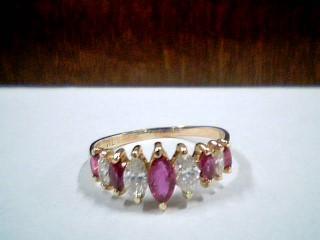 Synthetic Ruby Lady's Stone & Diamond Ring 4 Diamonds .46 Carat T.W.
