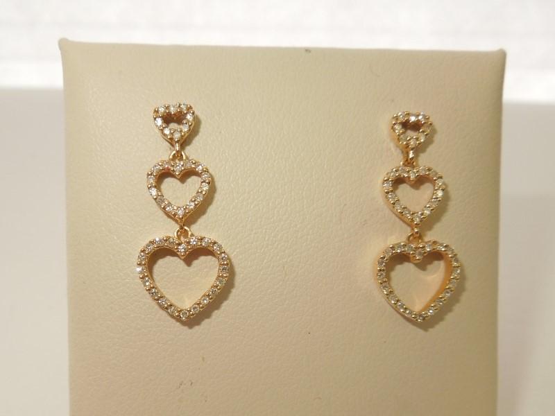 Gold-Diamond Earrings 84 Diamonds .84 Carat T.W. 14K Yellow Gold 2.8g