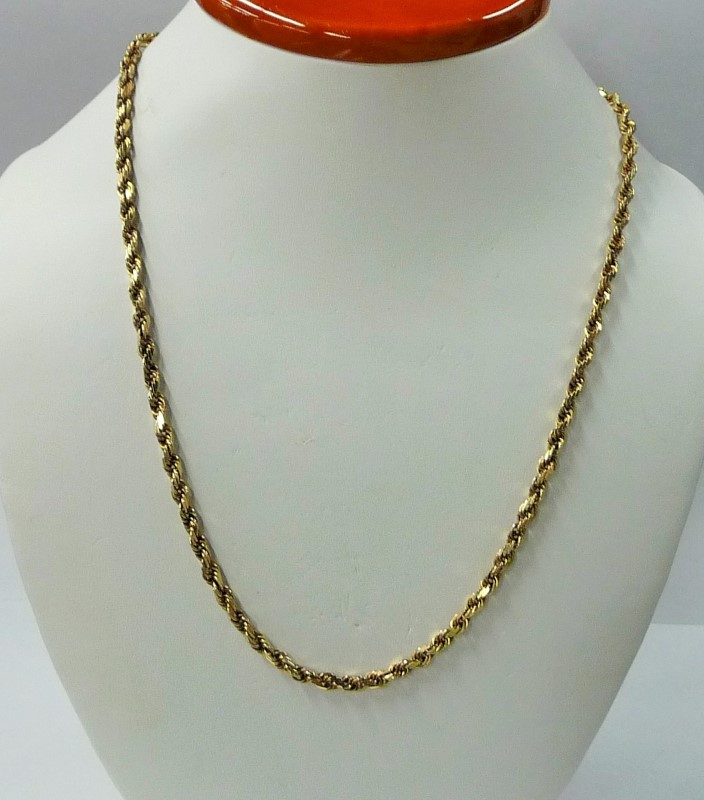 """19"""" Gold Rope Chain 10K Yellow Gold 14.2dwt"""