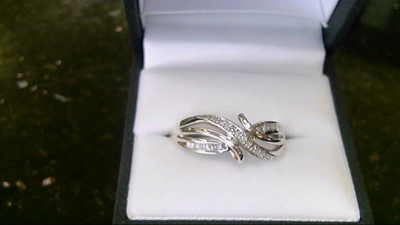 Sterling Silver 925 baguette and round diamond sz 12 ring
