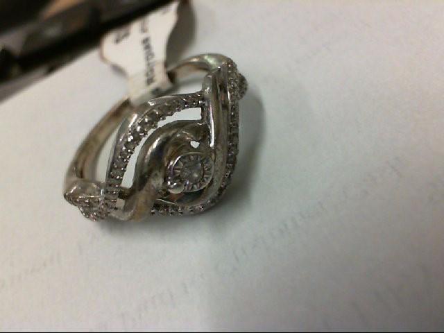 Lady's Silver-Diamond Ring 47 Diamonds .47 Carat T.W. 925 Silver 3.7g