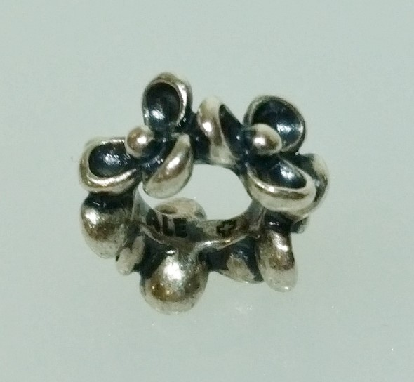 "Authentic Pandora 925 ALE Silver ""Floral Elegance"" Bead Spacer Charm 790857"