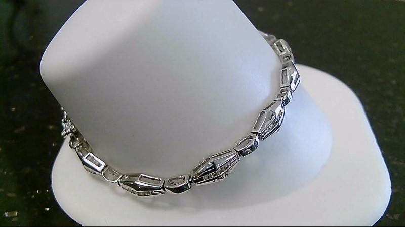 """7""""  Gold Bracelet 48 Diamonds .48 CTTW 14K White Gold 11.3g"""