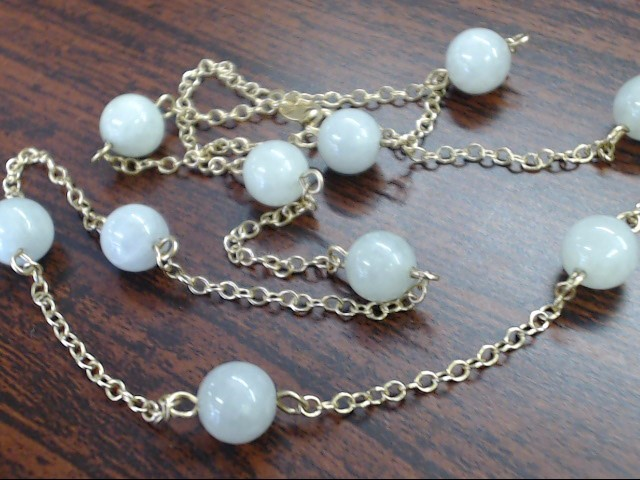 """VINTAGE JADE STONE 6MM BEAD STATION NECKLACE REAL 14K GOLD CHAIN 16"""""""