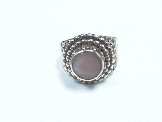 NAVAJO SIGNED B. CHAVEZ PINK MOTHER OF PEARL RING