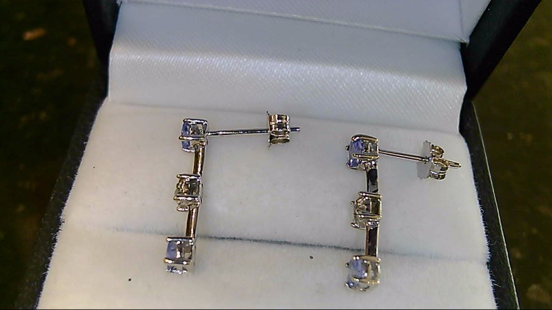 Lady's 10k white gold round tanzanite and diamond earrings