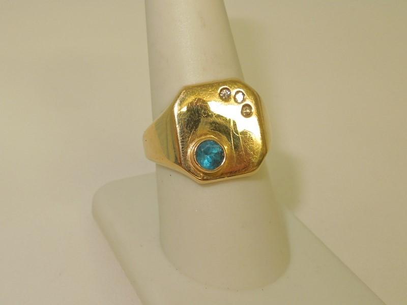 Synthetic Blue Topaz Gent's Stone & Diamond Ring 3 Diamonds .03 Carat T.W.