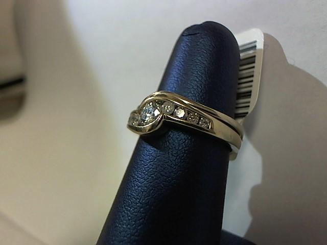 Lady's Diamond Wedding Set 9 Diamonds .45 Carat T.W. 14K White Gold 4g Size:5