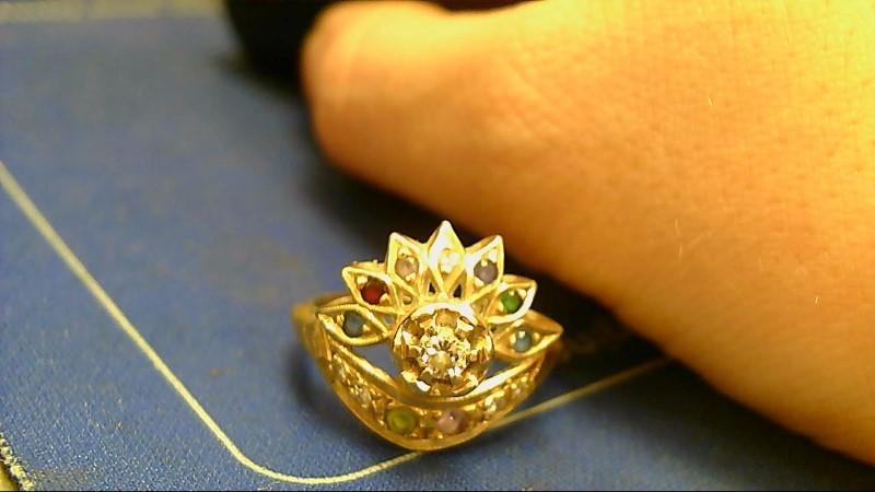 Green Stone Lady's Stone & Diamond Ring .15 CT. 14K Yellow Gold 4.1g
