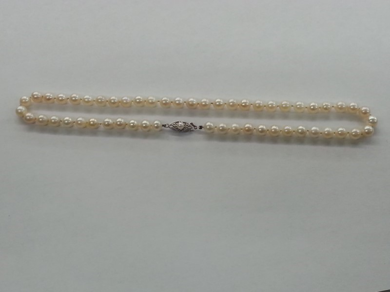 """16"""" PEARL NECKLACE 14K WG CLASP 63 PEARLS ON STRAND"""