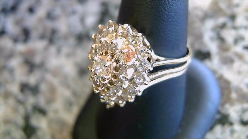 Lady's Diamond Cluster Ring 30 Diamonds 1.09 Carat T.W. 14K Yellow Gold 5.5g