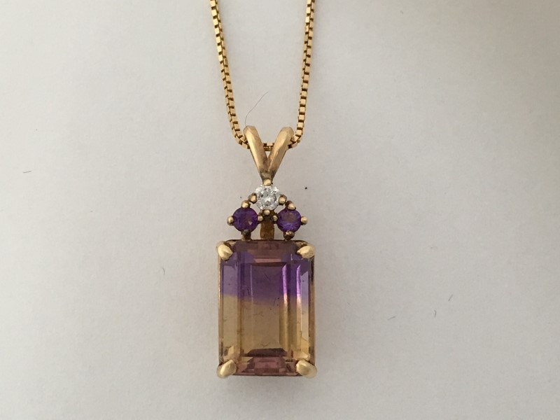 "24"" Synthetic Ametrine Diamond & Stone Necklace,14K Yellow Gold, 6.4g"
