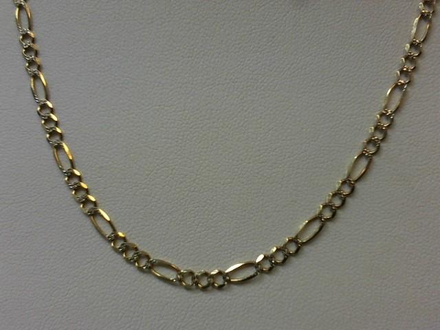"22"" Gold Figaro Chain 14K 2 Tone Gold 7.6g"