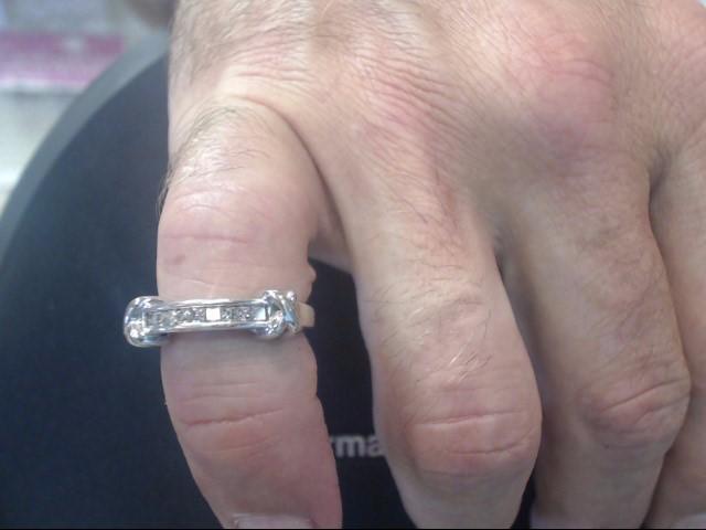 Lady's Gold-Diamond Ring Guard 9 Diamonds .27 Carat T.W. 14K White Gold 2.75dwt