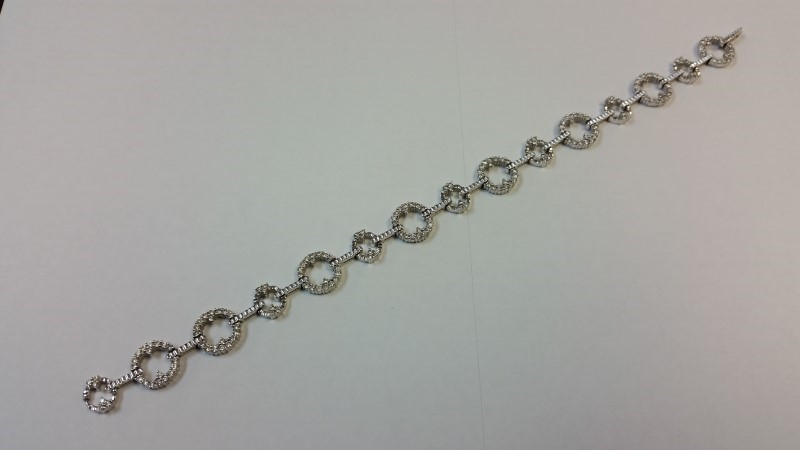 Gold-Diamond Bracelet 186 Diamonds 1.86 Carat T.W. 14K White Gold 16.5g