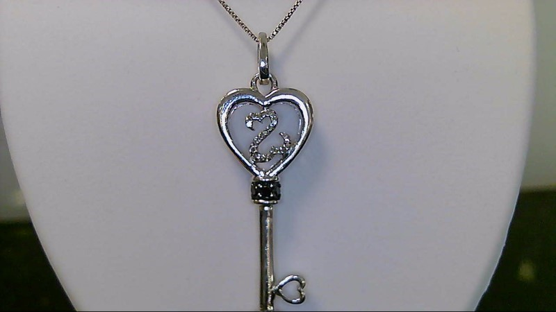 Lady's sterling silver 925 open heart black white diamond key necklace