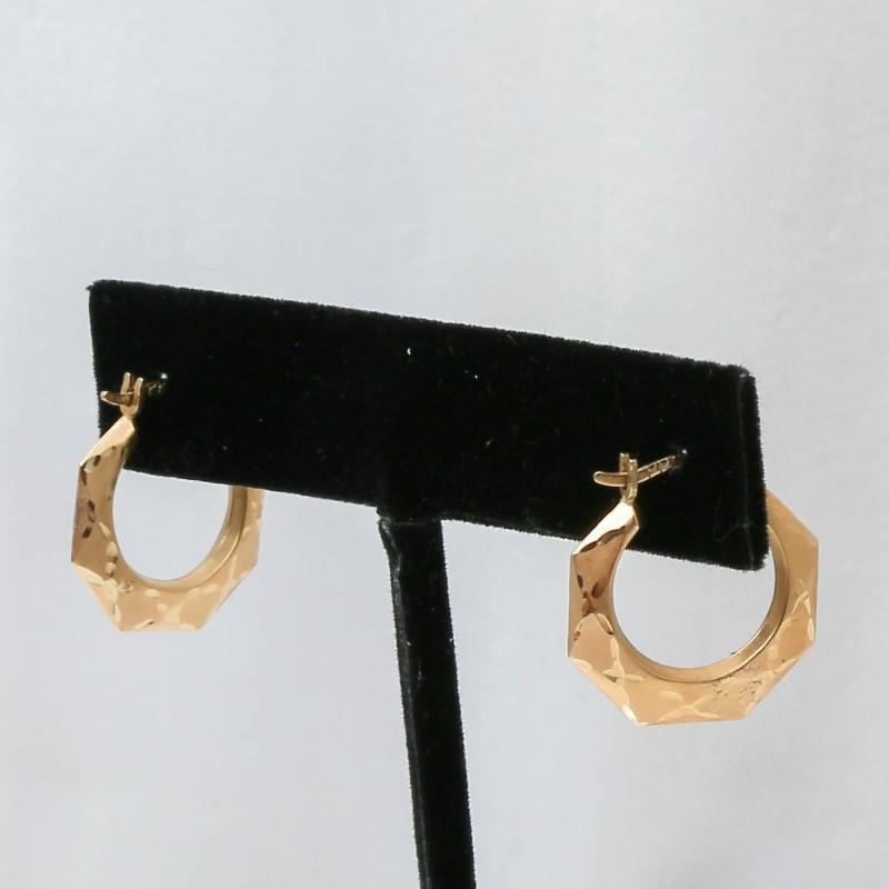 14K Yellow Gold Octogon Shaped Earrings