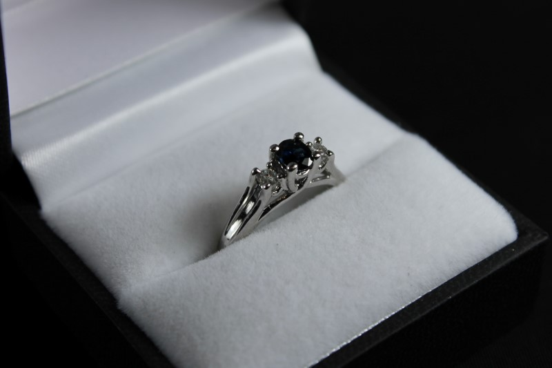 Synthetic Sapphire Lady's Stone & Diamond 10K White Gold Ring
