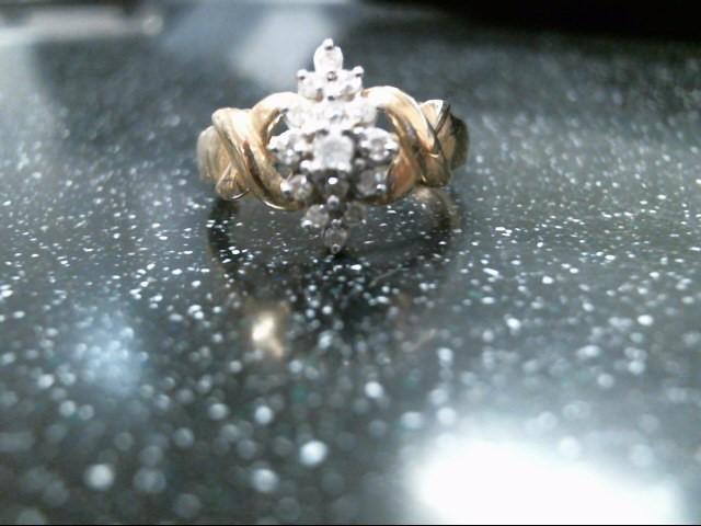 Lady's Diamond Fashion Ring 15 Diamonds .26 Carat T.W. 10K Yellow Gold 2.9g