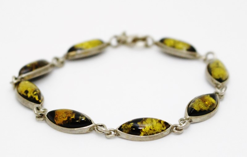 "7"" Sterling Silver Marquise Yellow Amber Chain Link Bracelet"