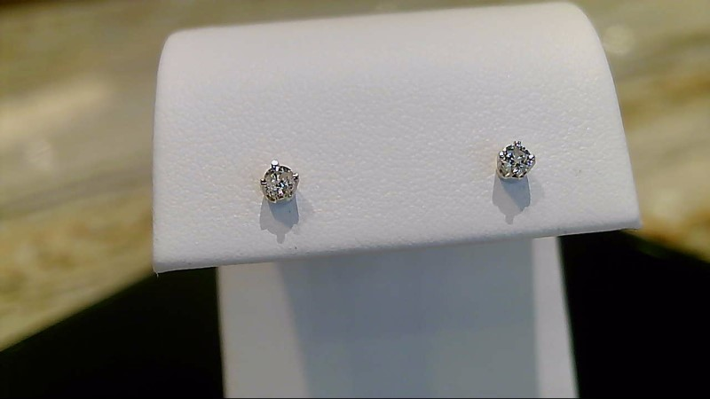 14k white gold appx. .10cttw round diamond stud earrings