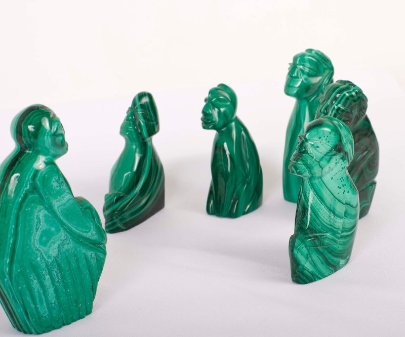 MALECHITE Green 6pc Set Collectible Plate/Figurines