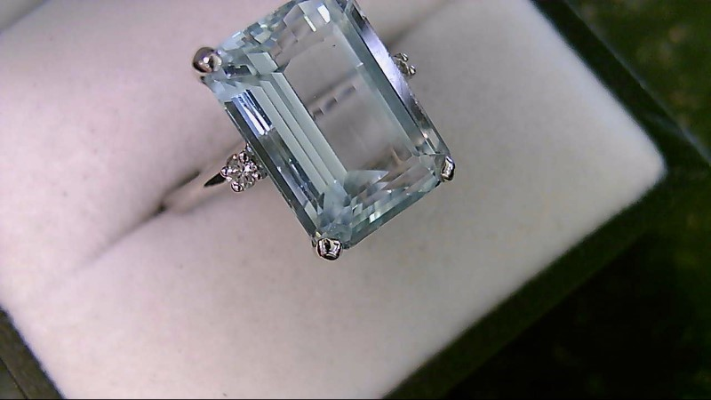 Genuine Emerald Cut Aquamarine with Diamonds Lady's White Gold Ring