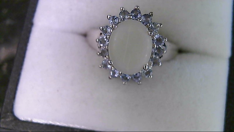 Oval Opal with Tanzanite Accents Sterling Silver Ring