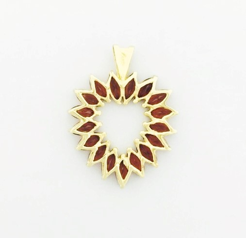 14K Yellow Gold Marquise Orange Tourmaline Heart Outline Pendant