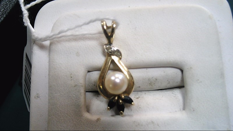 Synthetic Pearl Gold-Diamond & Stone Pendant 2 Diamonds .02 Carat T.W.