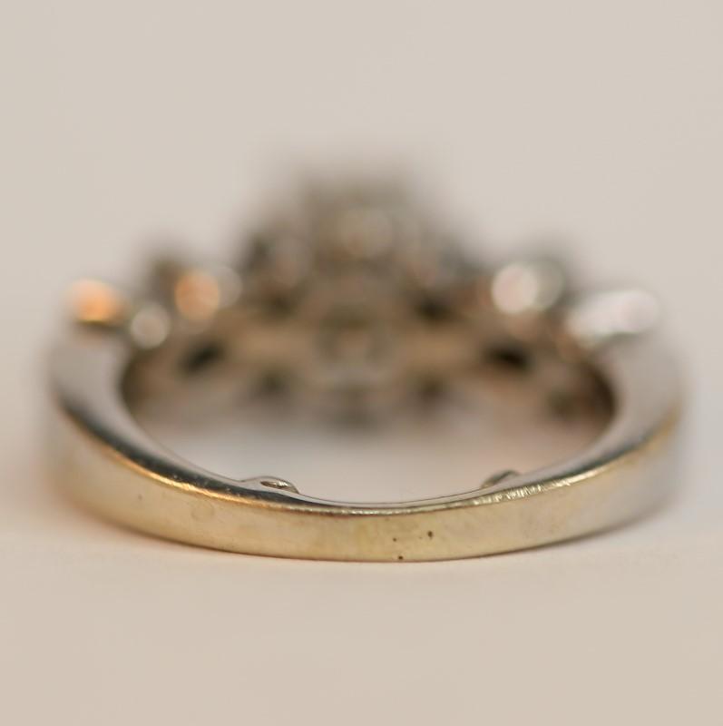 Vintage Inspired 14K White Gold Multi-Cut Diamond Ring Size 4.3