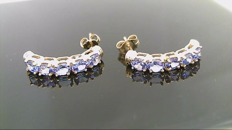 Genuine Tanzanite Gold Stone Earrings 14K Yellow Gold 2.8g
