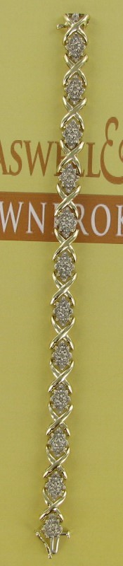 Gold-Diamond Bracelet 108 Diamonds 2.16 Carat T.W. 10K Yellow Gold 12.3dwt