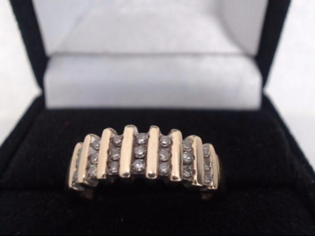 Lady's Diamond Cluster Ring 21 Diamonds .63 Carat T.W. 10K Yellow Gold 3.9g
