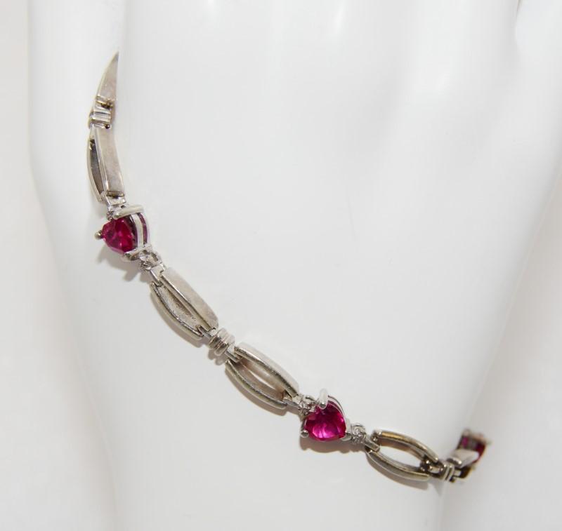 """Sterling Silver Heart Shaped Ruby Chain Bracelet 7"""""""
