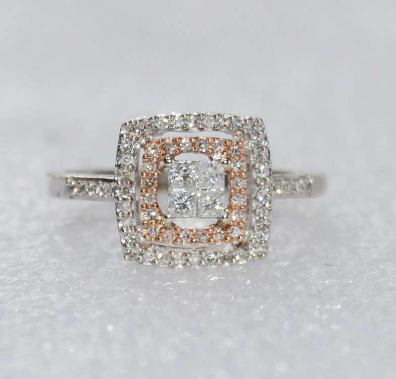 14K ROSE GOLD WHITE GOLD TWO TONED DIAMOND ENGAGEMENT RING SIZE 7