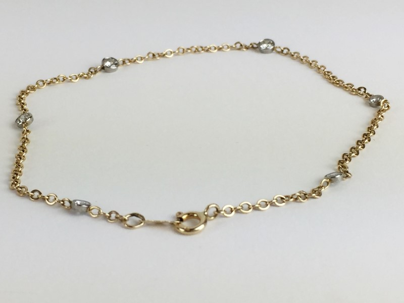Diamond Anklet 6 Diamonds .72 Carat T.W. 14K Yellow Gold 5.13g