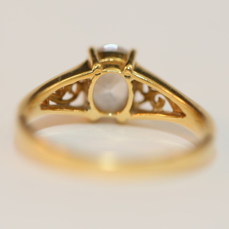 10K Yellow Gold Cubic Zirconia Ring With Filigree Detailing Size 6.75