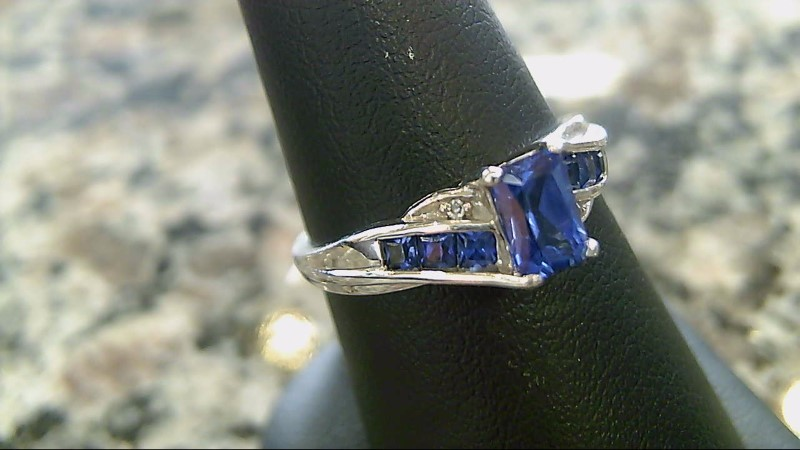 Synthetic Sapphire and Diamond 10K White Gold Ring