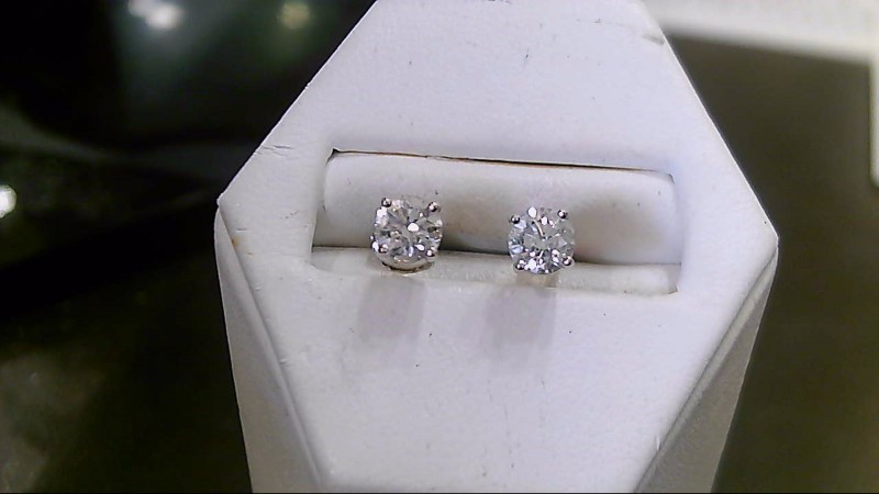 Gold-Diamond Earrings 2 Diamonds .74 Carat T.W. 14K White Gold 1g