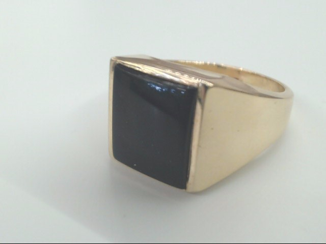 VINTAGE BLACK ONYX RING SOLID REAL 10K GOLD STATEMENT SQUARE 11.25