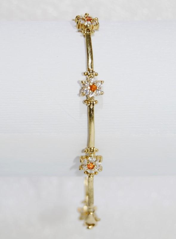 10K Yellow Gold Diamond & Citri Stone Bracelet