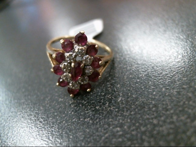 Synthetic Ruby Lady's Stone & Diamond Ring 8 Diamonds .08 Carat T.W.
